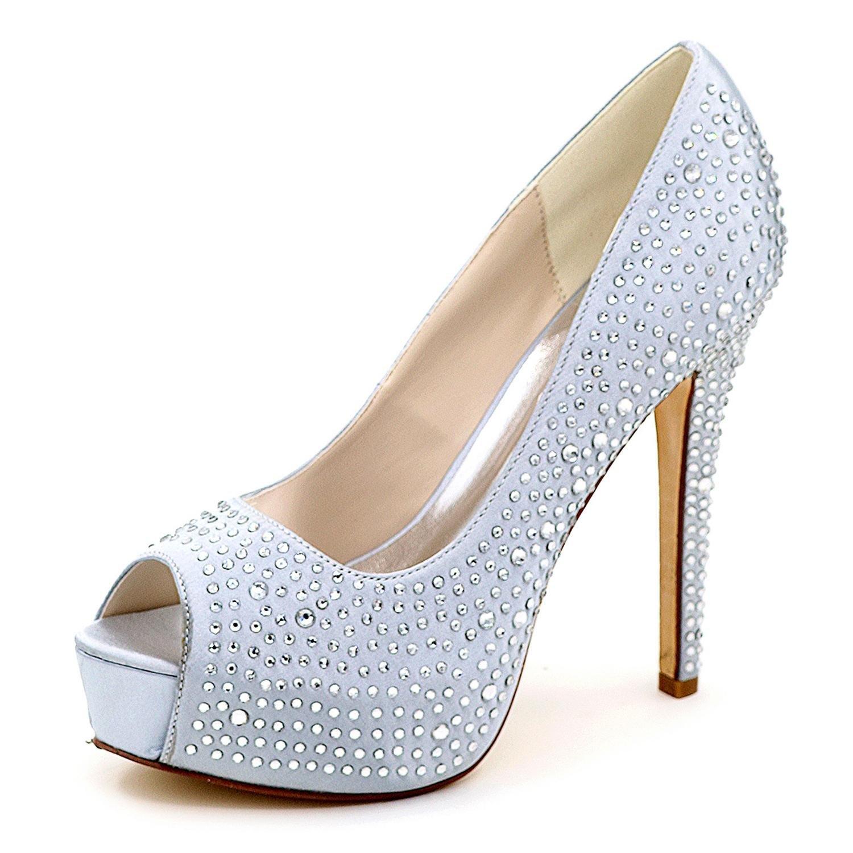 Elobaby Mujeres de Plata Rhinestone de La Boda 3128-14 Fiesta de Graduación Nupcial Bajo Gatito Talón Diamante Zapatos de La Corte Bombas 36 EU|Silver
