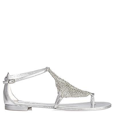LOLA CRUZ Damen Sandalen Mit Strass Silber, Größe 36: Amazon