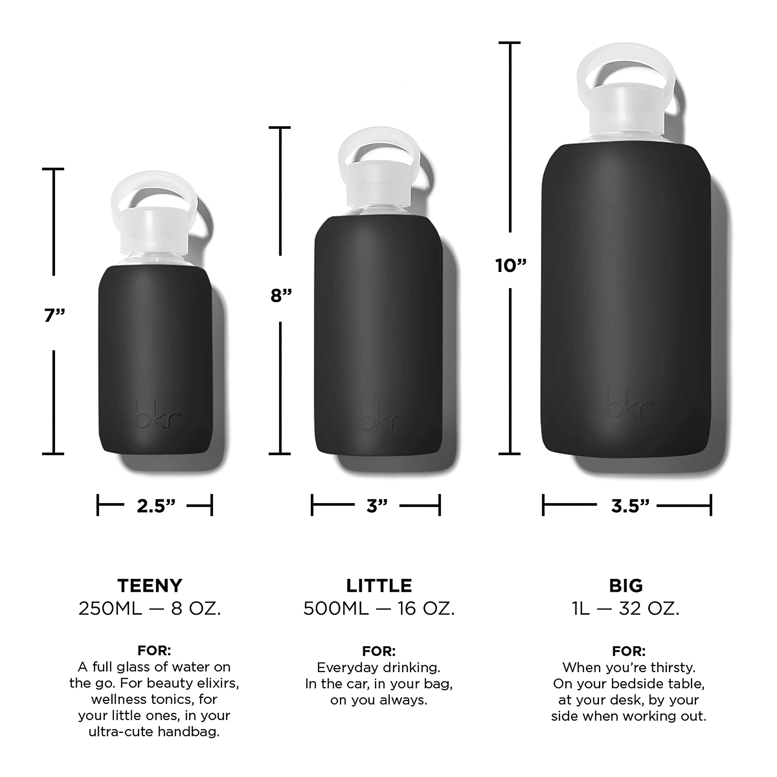 bkr Jet Glass Water Bottle with Smooth Silicone Sleeve for Travel, Narrow Mouth, BPA-Free & Dishwasher Safe, Opaque Black, 8 oz / 250 mL