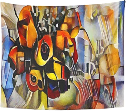 Berrykey Tapestry Bouquet of Beautiful Flowers In Modern and Cubism from Picasso Kandinsky execu Ted Oil