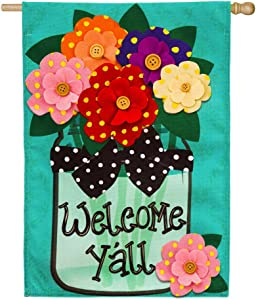 Evergreen Flag Welcome Y'all Polka Dot Flowers Burlap House Flag - 28 x 44 Inches Outdoor Decor for Homes and Gardens