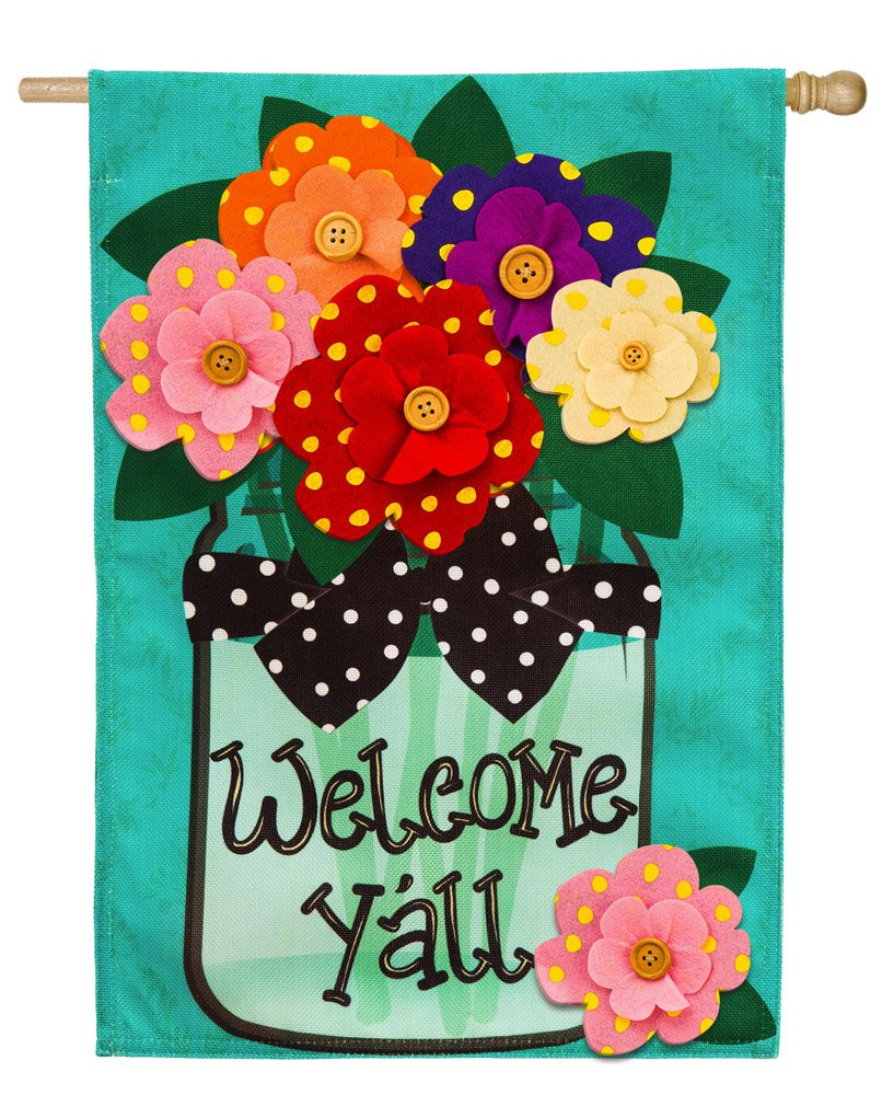 Evergreen Flag Welcome Y'all Polka Dot Flowers Double-Sided Burlap House Flag- 28'' W x 44'' H