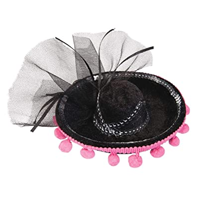 Forum Novelties Womens Day of The Dead Black Mini Sombrero with Pink Pom Poms Costume Accessory: Toys & Games