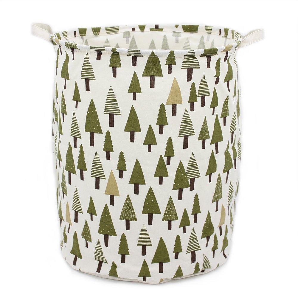 "Homele 19.7"" Large Laundry Hamper Bucket Waterproof Coating Cotton Laundry Basket Collapsible Washing Basket Canvas Storage Basket Bin Home Nursery Toy Organizer (Tree)"