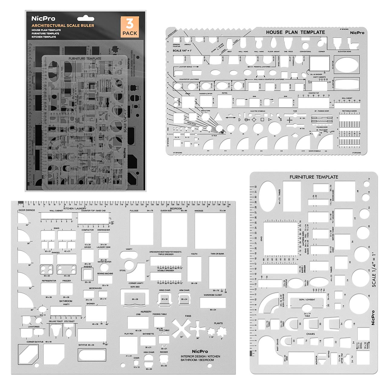 Nicpro Plastic Drafting Tools Architectural Templates, 3 PSC Geometry Template for CAD Drawing House Plan Furniture Kitchen, Building, Interior Design Tools Ruler Shapes