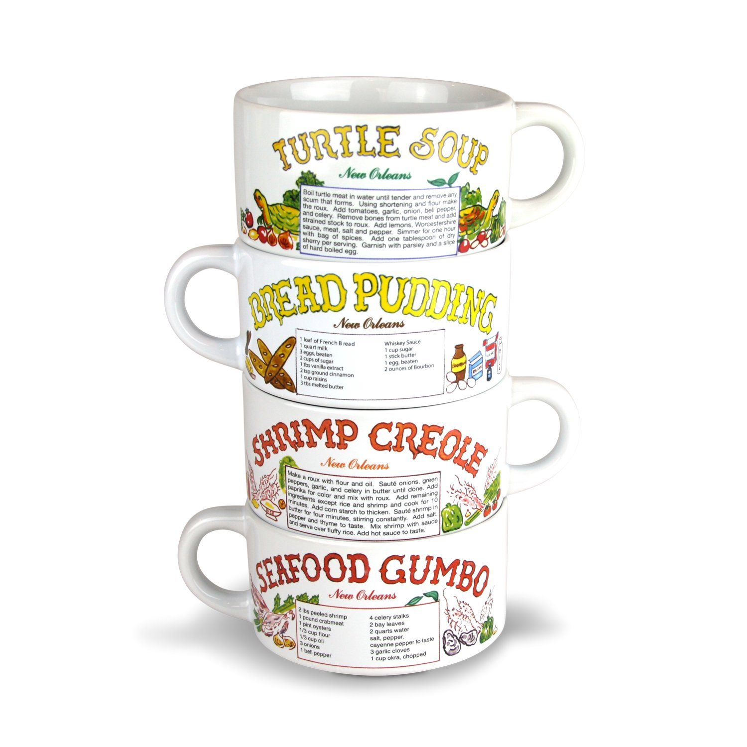 Recipe Gumbo Bowl Set of 4 -Turtle Soup Bread Pudding Seafood Gumbo Shrimp Creole