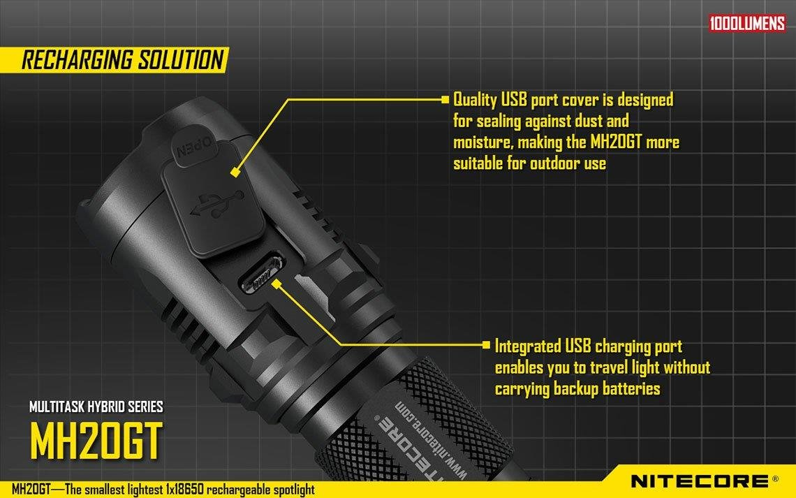 Holster 2 X EdisonBright Cr123A batteries bundle MH20GT-EB Nitecore MH20GT CREE LED 1000 Lumen 395 yards beam USB Rechargeable Flashlight USB cable Nitecore NL189 18650 3400mAh rechargeable Li-ion battery