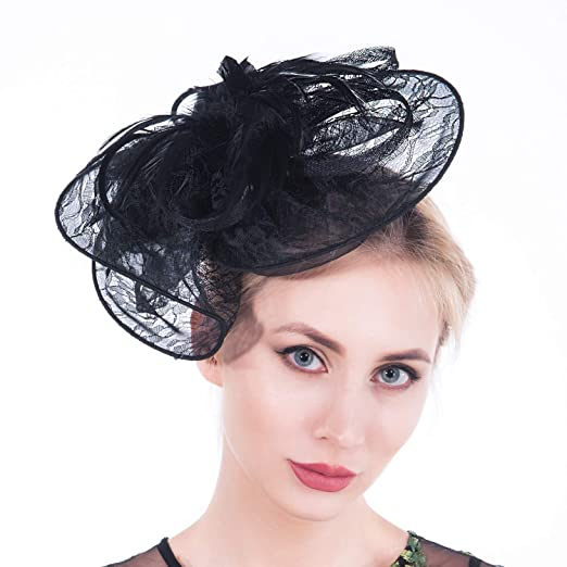 853285d48 Fascinators for Women, Lace Feather Mesh Vintage Sinamay Derby Fascinator  Hats with Clip and Headband for Cocktail Wedding Tea Party