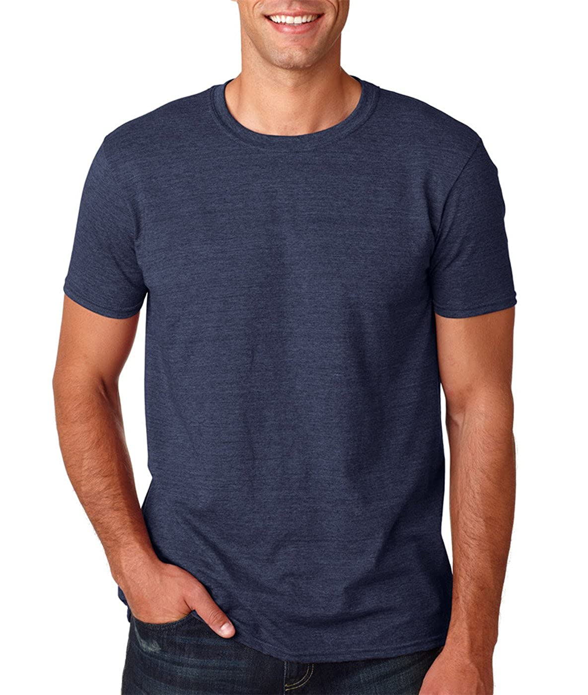 Ringspun T Shirt >> Gildan Men S Softstyle Ringspun T Shirt 3x Large Heather Navy