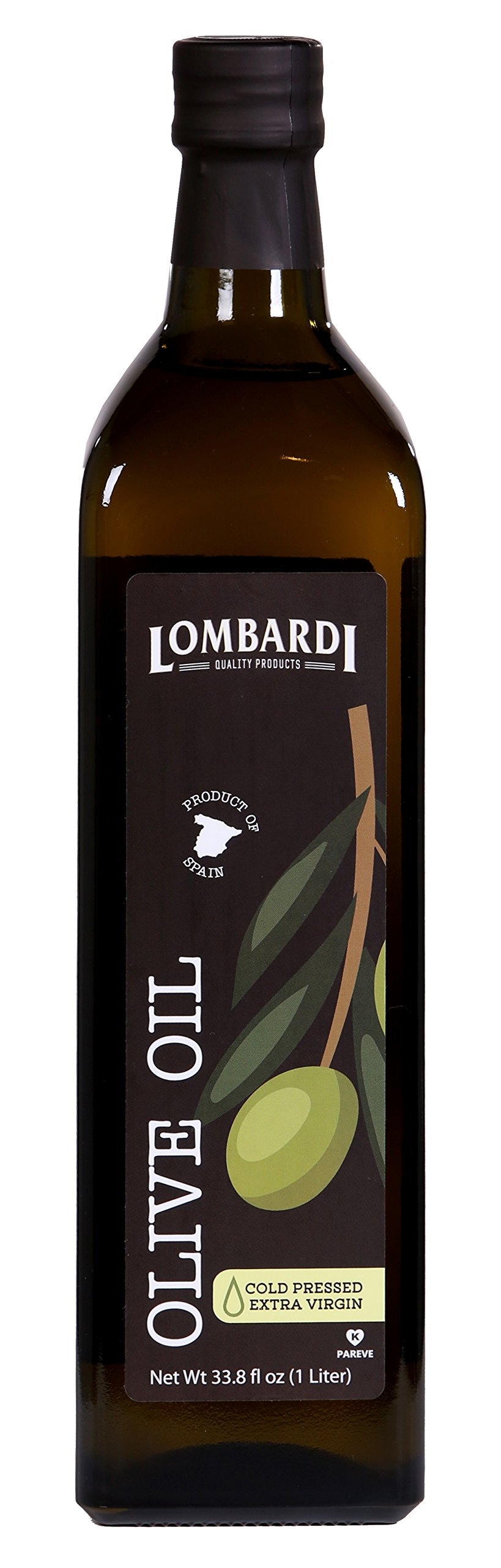 Lombardi Extra Virgin Olive Oil 33.8 fl oz Premium Quality 1 Liter Kosher Product of Spain Cold Pressed for Cooking, Baking, and Salad Dressing by Lombardi (Image #1)