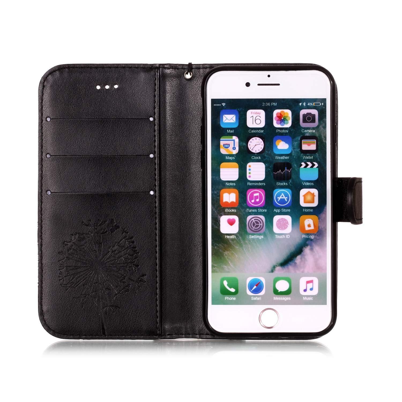 481e8740d6a00b Housse Coque Samsung Galaxy S6 Fleur, KM-Panda 3 in 1 Bookstyle Cuir ...