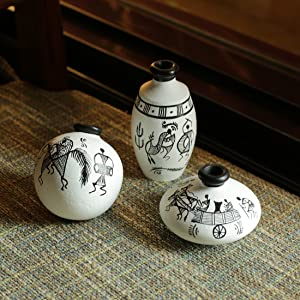 ExclusiveLane Terracotta Warli Handpainted Miniature White Pots (Set of 3) - Miniature Terracotta Pots Home Décorative Artefacts for Living Room Bedroom Table Decor (Height: 2-3 Inch, Small)