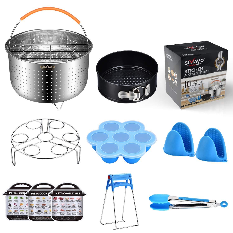 SIMAVO Pressure Cooker Accessories Set Compatible with Instant Pot 6,8 QT -New Steamer Basket | Egg Steamer Rack | Springform cake Pan | Egg Bites Mold | Magnet cooking time and more, 10+Pcs