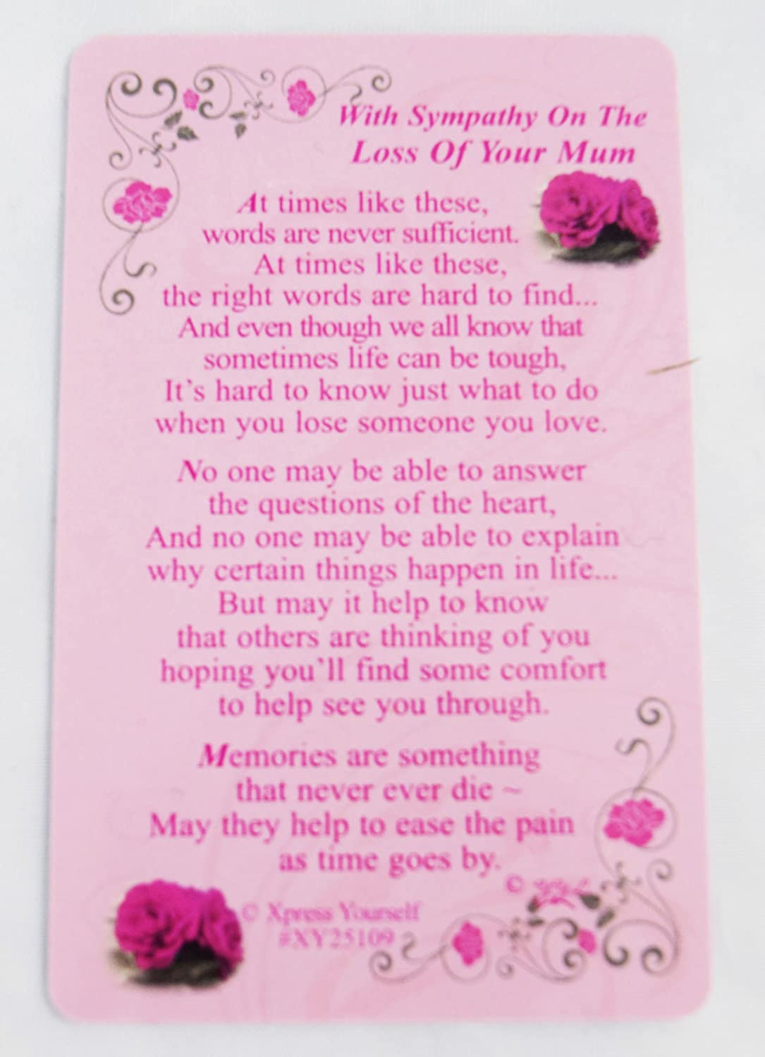 With Sympathy Loss Of Your Mum Wallet Card Keepsake Grave Thinking