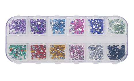 ba7c1de9c928 Image Unavailable. Image not available for. Colour  12 Colors Nail Art Glass  Rhinstones with Storage Case Flatback Hot Fix Stones Bling ...