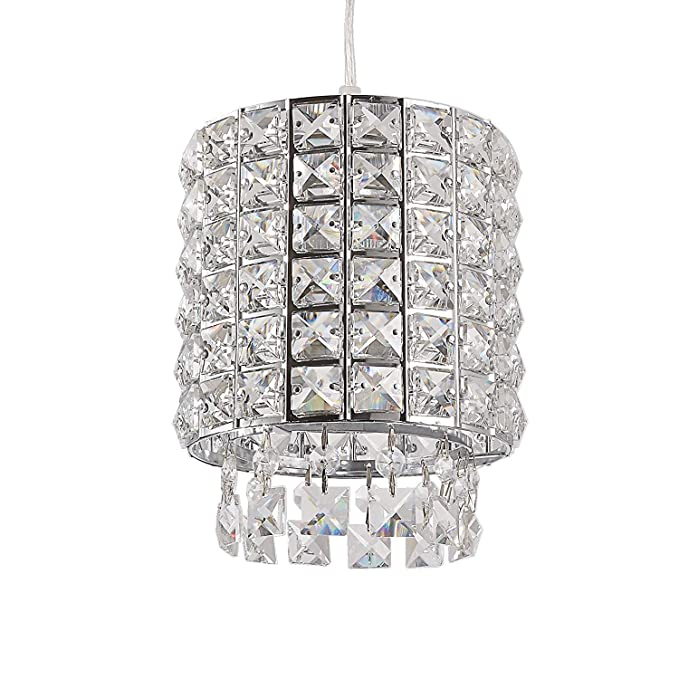 Modern K9 Crystal Chandelier Pendant Light Fixture With 3 Adjule Clear Cord For Kitchen Dining Room Chrome Finish Cylinder Style Com