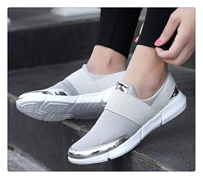 Amazon.com | Women Casual Shoes Female Sneakers Ladies Trainers Slip on Canvas Loafers Breathable Big Size Vulcanized Shoes Tenis Feminino Gray 9.5 ...
