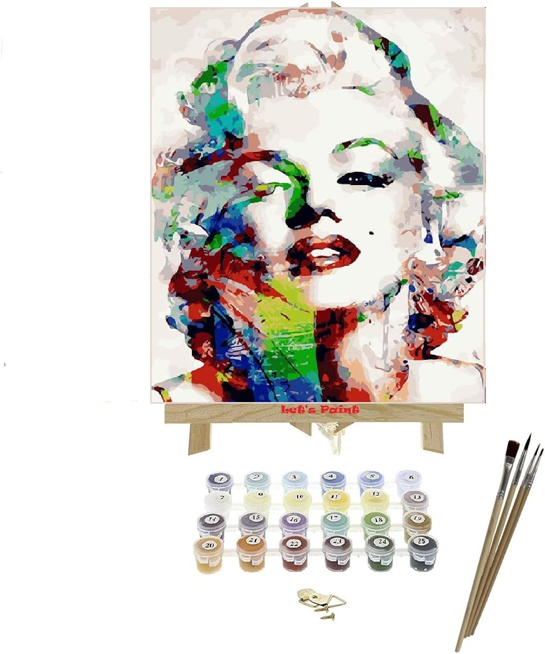 Pintura por números + atril + kit pintura 41x51 cm Marilyn