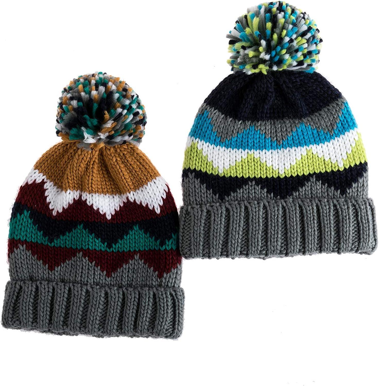 LAMONAGE boy Kids Winter Pattern Knit Beanie hat