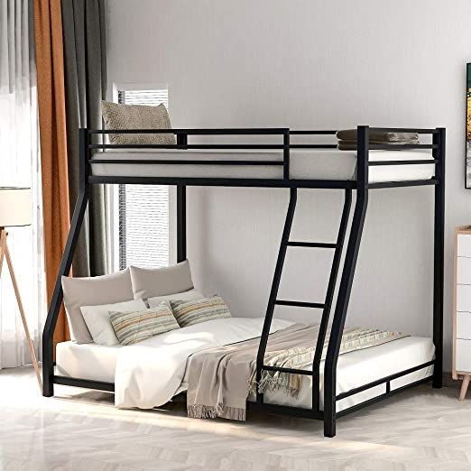Amazon Com Low Bunk Beds Twin Over Full Size Metal Bunk Beds With Ladders And Guard Rail No Box Spring Needed Kitchen Dining