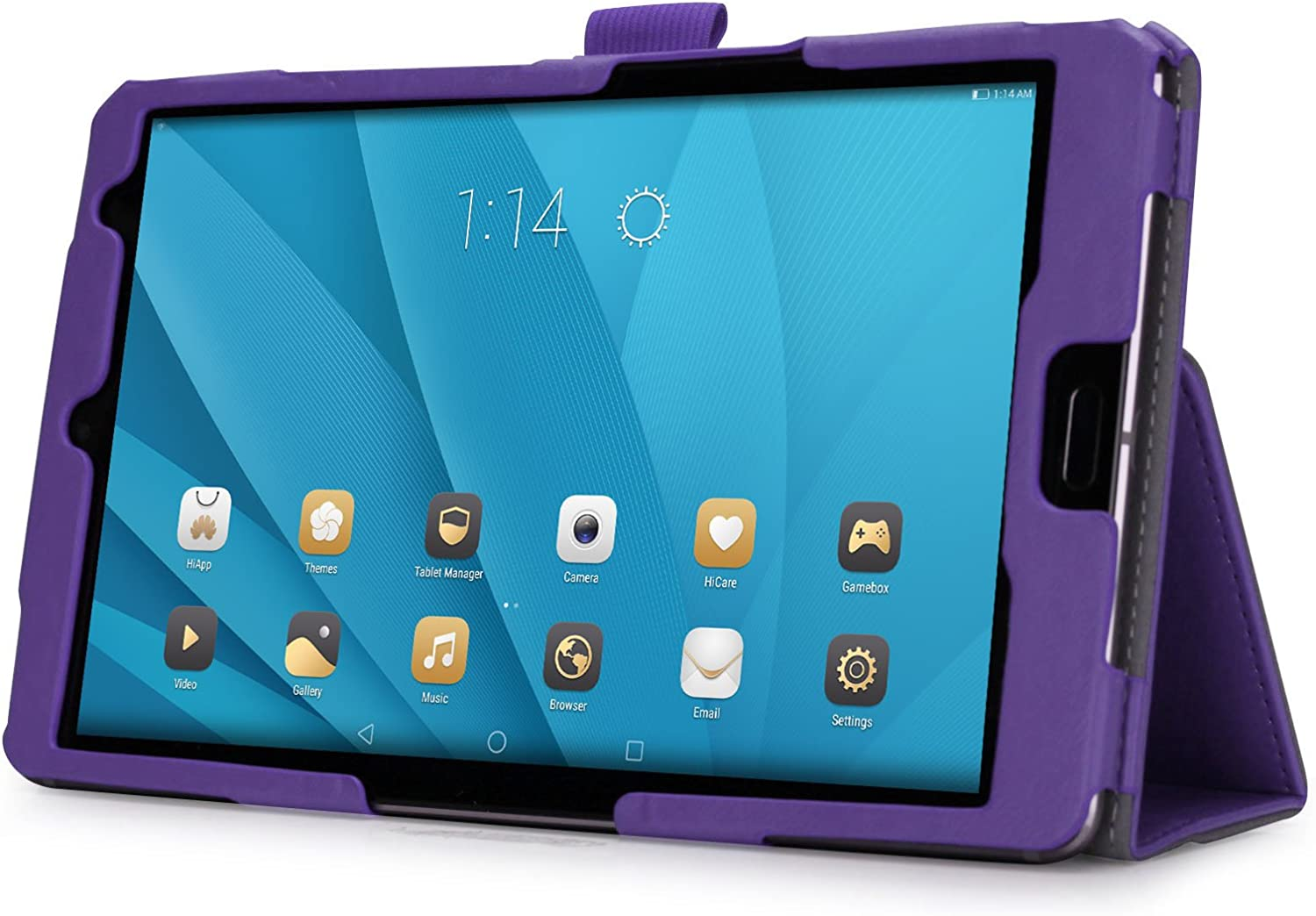 Premium PU Leather Book Style Folding Hand Strap Case with Kickstand Cover Card Slots Full Protection Shell Bummper for Huawei MediaPad M5 10.8 Tablet Huawei MediaPad M5 10.8 Case purple