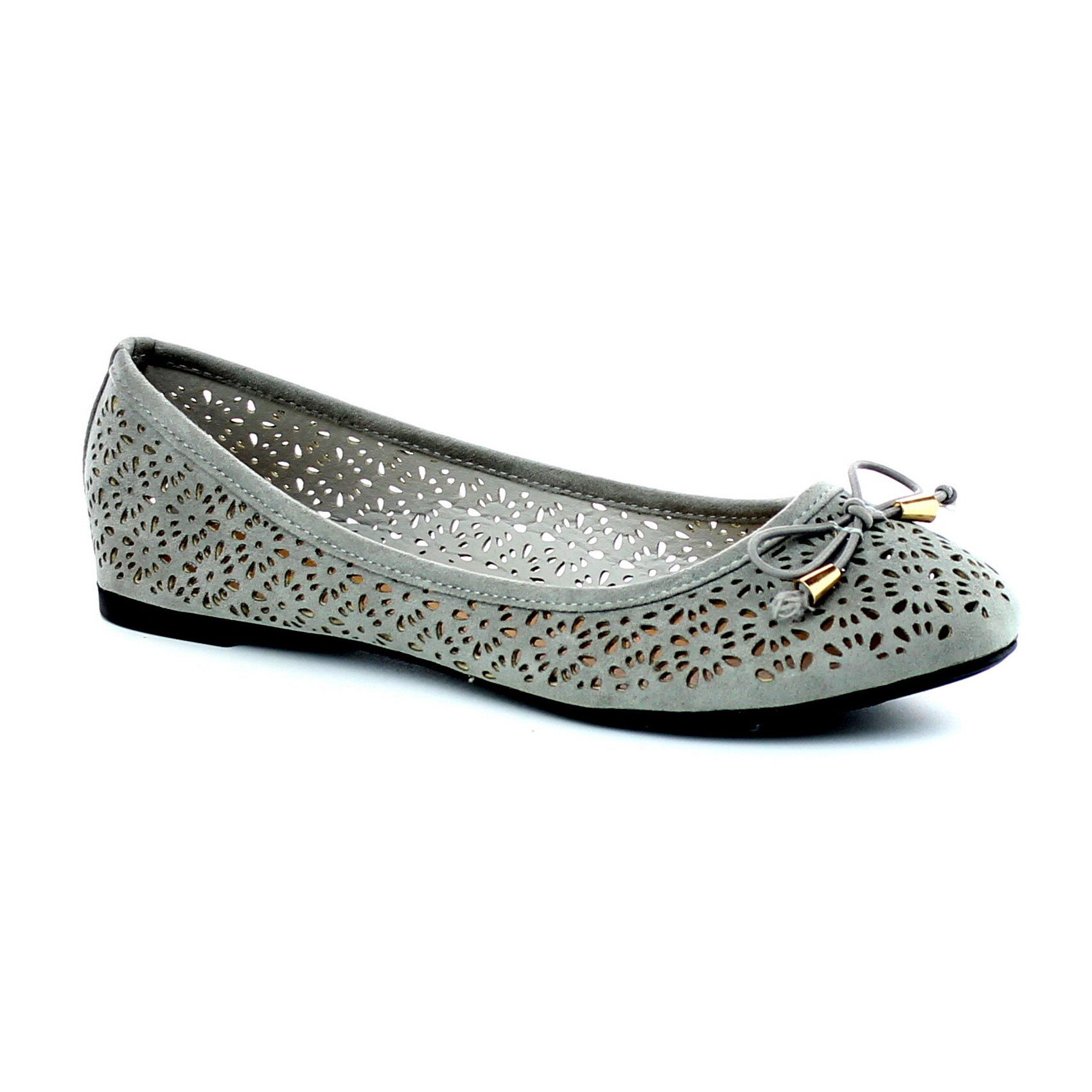 Women's Slip On Ballet Flats Perforated Cut Out Bow Tie Shoes Ballerina Comfort Slippers FC05 Grey 7.5