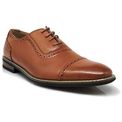 Wood03N Men's Perforated Lace Up Cap Toe Oxford Dress Shoes (8.5, Cognac Brown) | Oxfords