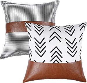 Kiuree Black and White Pillows Boho Decorative Throw Pillow Covers for Couch Sofa Bed Set of 2 Striped Faux Leather Pillow Modern Accent Home Decor 18x18 inch(Arrow+Stripe)