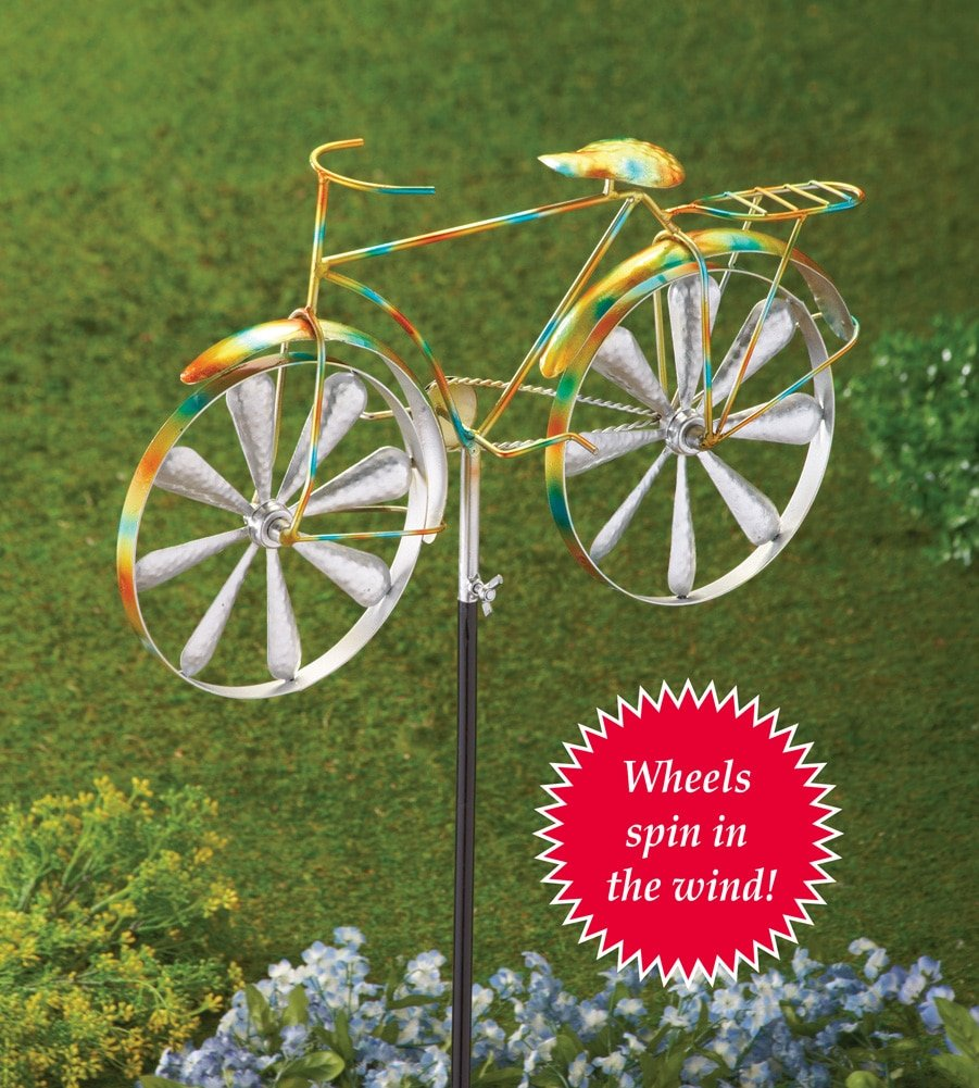 Amazon.com : Whimsical Bicycle Wind Spinner Garden Decor Yard Stake ...