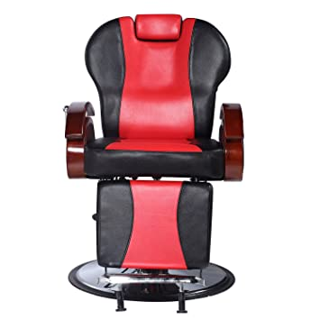 Walcut Barber Chair Adjustable Hydraulic Recline Salon Shampoo Spa  Equipment PVC Leather Black U0026 Red