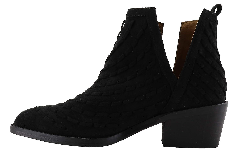 d260f957314 Botín Serraje. Abierto Laterales en V. Adorno Tipo Trenzado. Color Negro.   Amazon.es  Zapatos y complementos