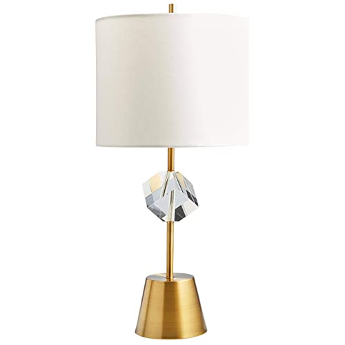 Rivet Mid Century Modern Crystal Glam Table Desk Lamp with Light Bulb, 23 H, Brass with Linen Shade