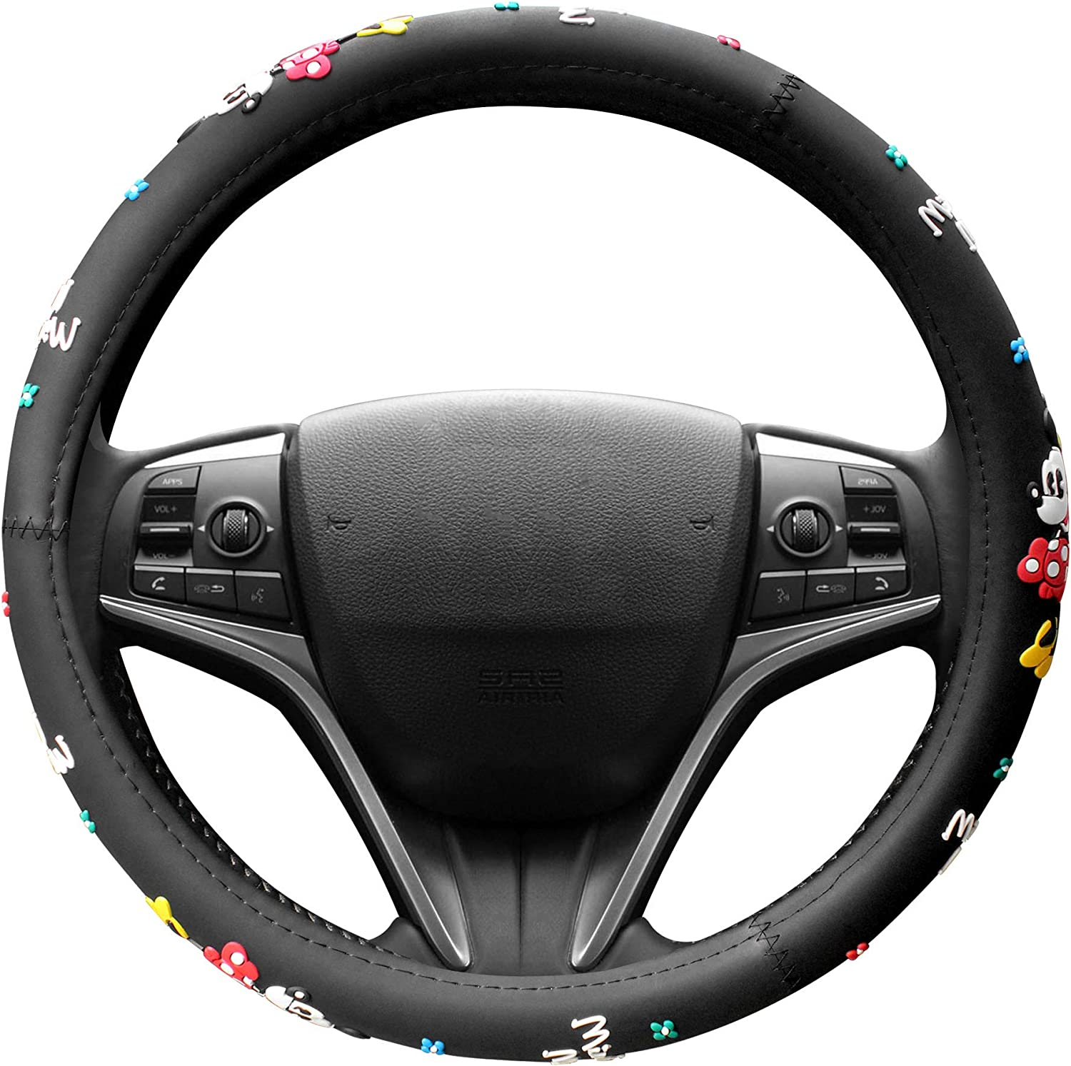 Disney Minnie Mouse Doll Toys Car Accessories Steering Wheel Cover Seat Cover