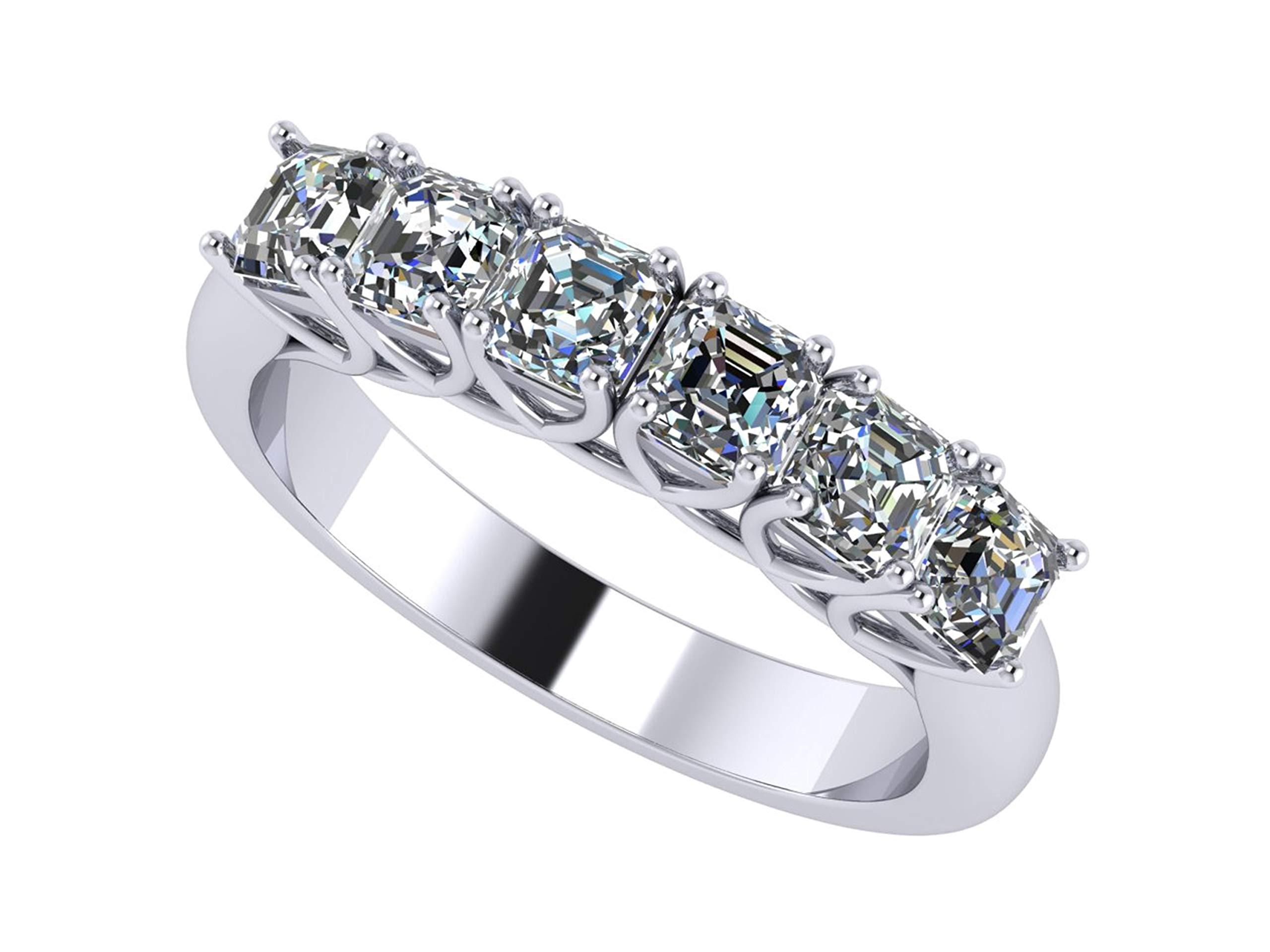 NANA Asscher Cut 1ctw Simulated Diamond Anniversary Ring, Swarovski ZirconiaCZ Wedding Engagement Band-Silver-Size 5.5
