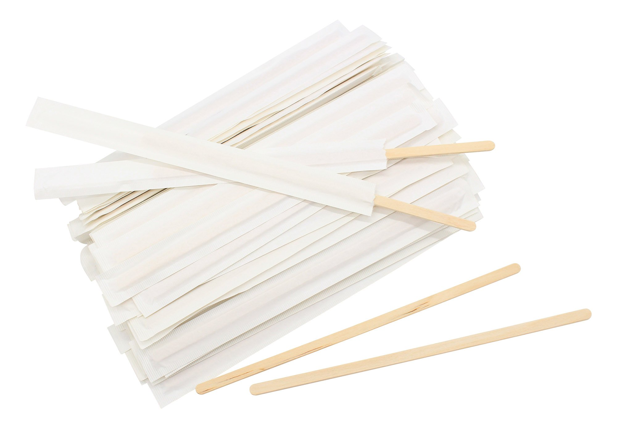 Disposable Paper Wrapped Wooden Coffee Stir Sticks Wood Tea Beverage Stirrers 7.5 Inch 500 Pcs