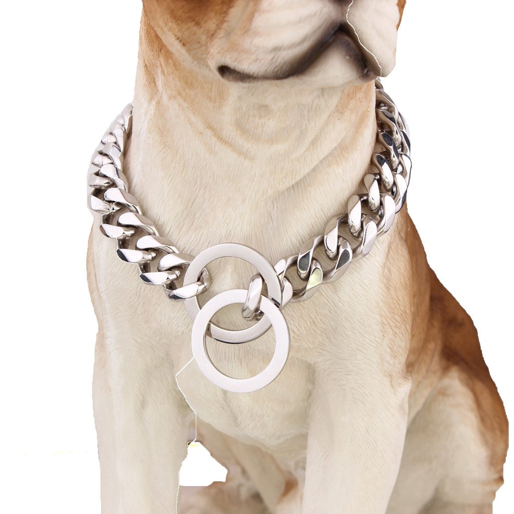 15mm Wide Bling Chain Curb Cuban Link Silver Tone 316L Stainless Steel Dog Choke Chain Collar Pet