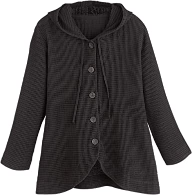 Patch Pockets Cardigan Focus Fashions Women/'s Waffle Weave Knit Cotton Jacket