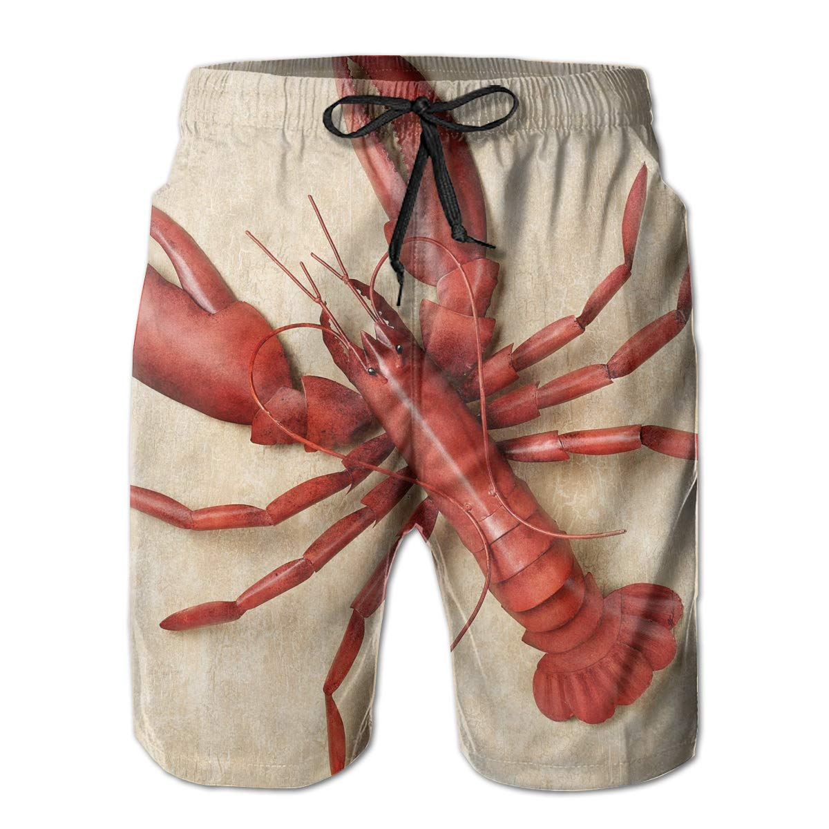 Hateone Life Mens Beach Shorts Quick Dry Red Lobster Summer Holiday Mesh Lining Swimwear Board Shorts with Pockets XXL