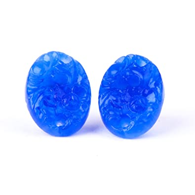 Vintage carved cobalt sky blue cherry blossom glass oval earrings studs on new sterling silver 925 posts and backs vkRLkTwHL