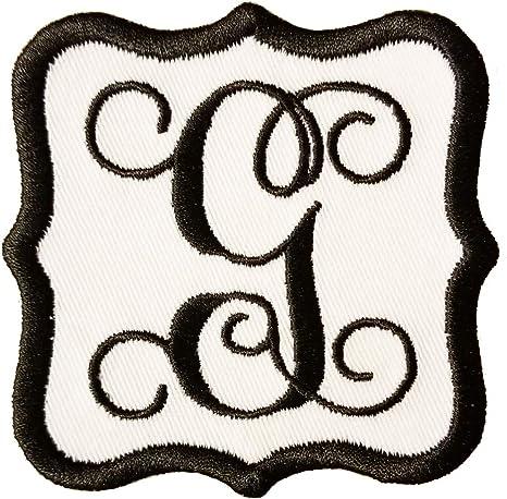 "SCRIPT LETTERS Iron On Embroidered Applique White  Script Letter /""P/"""
