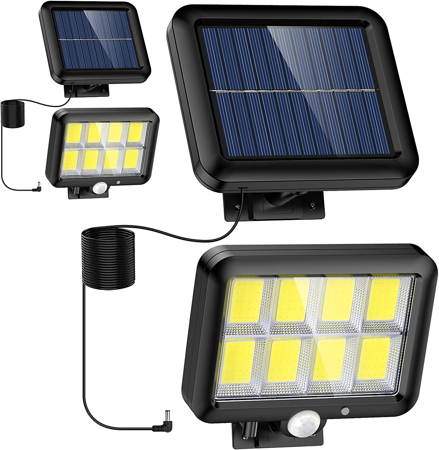 Solar Lights Outdoor- 2 Pack, 320 COB LED, 3 Modes Motion Sensor Security Light with 16.4Ft Cable, IP65 Waterproof Wall Lights for Garage Garden Yard Pathway