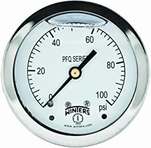 """Winters PFQ Series Stainless Steel 304 Single Scale Liquid Filled Pressure Gauge with Brass Internals, 0-100 psi, 2-1/2"""" Dial Display, +/-1.5% Accuracy, 1/4"""" NPT Center Back Mount"""