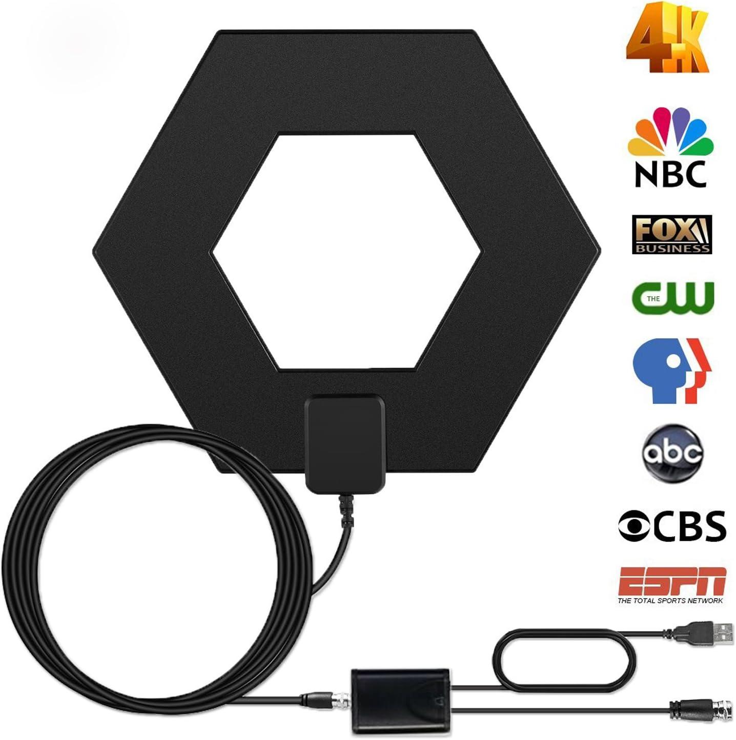 Antena Digital Efind de 80 Millas para Interior de TV – Antena HDTV de Alta recepción de Largo Alcance amplificada para Antena de TV 4K 1080P UHF VHF Canales de HDTV con