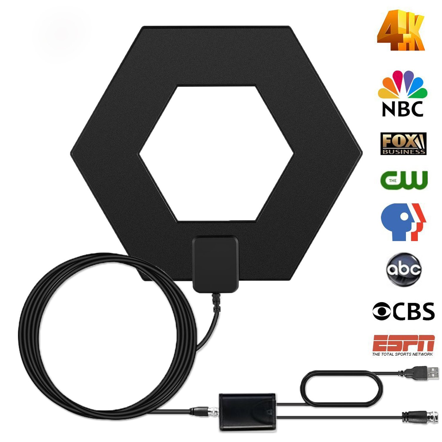 efind 80Miles Amplified Indoor TV Antenna - High Reception HDTV Antenna Long Range Digital TV Antenna for 4K Free Channels with Booster 12Ft cable by efind