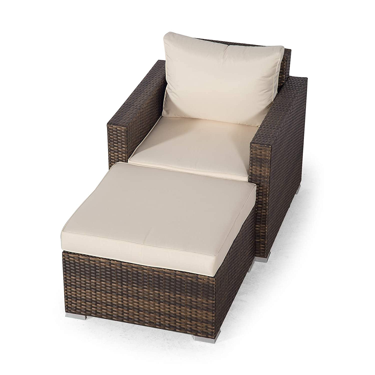 Set Giardino In Rattan.Giardino Sydney Brown Rattan Armchair Ottoman Lounge Chair Set