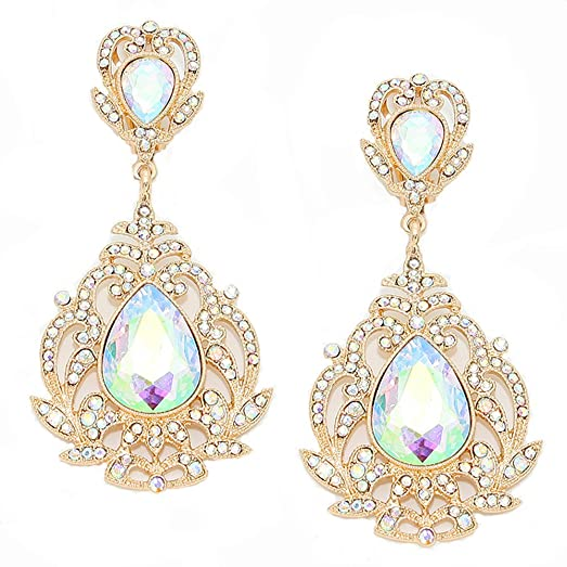 Amazon vintage style iridescent crystal rhinestone chandelier vintage style iridescent crystal rhinestone chandelier clip earrings accented with goldtones aloadofball Gallery