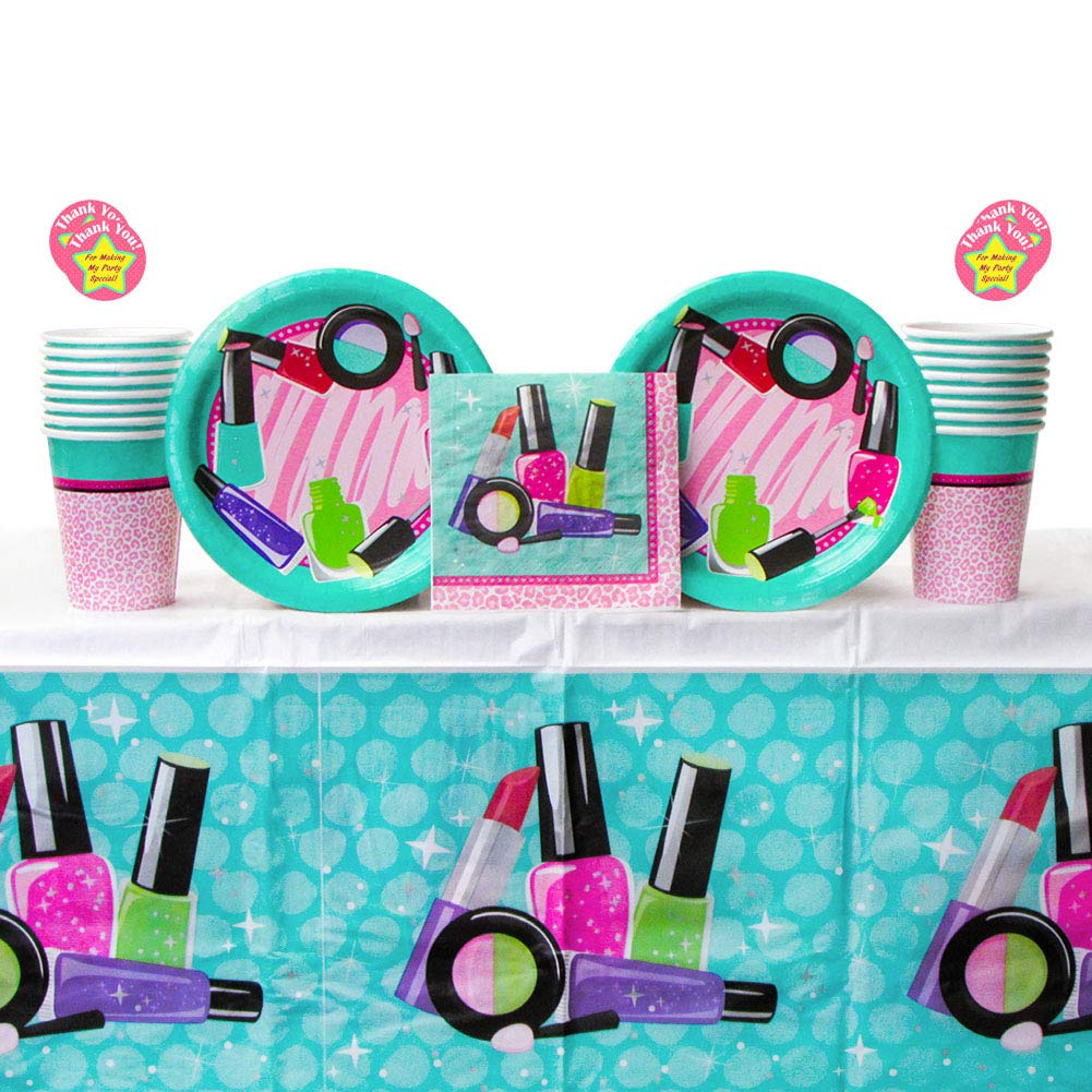 Sparkle Spa Party Supplies Pack for 16 Guests - Stickers, Dessert Plates, Beverage Napkins, Cups, and Table Cover