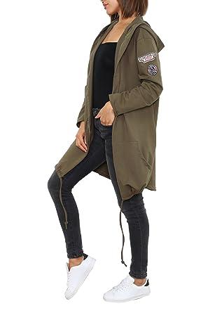 Turnschuhe 2018 am besten wählen abgeholt Fashion Italy Damen Jacke Lang Sweatjacke Cardigan Kapuzenjacke ...