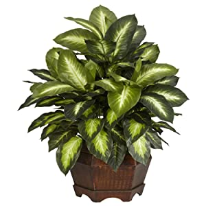 Nearly Natural 6639 24in. Golden Dieffenbachia Silk Plant