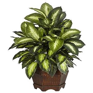 Nearly Natural 6639 24in. Golden Dieffenbachia Silk Plant